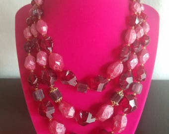 Pretty in Pink! Awesome Retro Raw Stone Chunky Multi Strand Beaded Necklace - Stamped Pink and Red Raw Stones-Marked 'Germany' on the Clasp