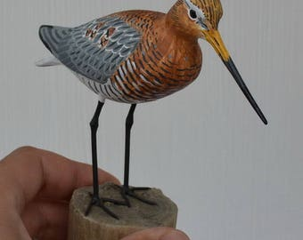 Black-tailed godwit / Limosa limosa - carving birds - handmade sculpture
