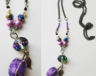Violet Earth Stone Necklace