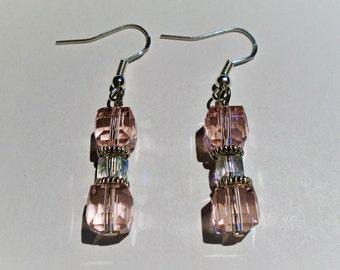 Pink Cubic Crystal Earrings