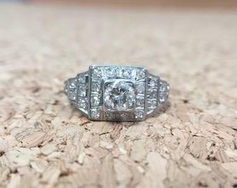 Antique Art Deco Platinum & Diamond Engagement Ring