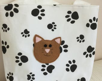 CAT Tote Bag - Kids Bag - Paw print Tote bag - small shopping bag - Gift Idea - Cat Lovers - Animal lovers - Bag - Handmade - Cat Bag