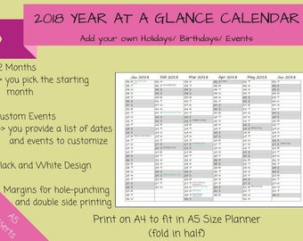 CUSTOMIZED - 2018 Year at a Glance Calendar on 2 Pages Fold-Out Printable Planner, Print on A4 to fit A5 Planner