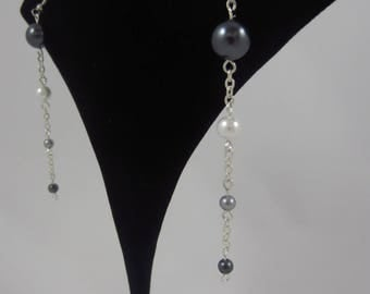 Black, Grey, and White Drop Earrings