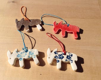 Little donkey ceramic hanging or magnet