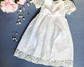 Sophisticated lace dress, organic cotton baby girl's christening gown, flower girl dress, communion girl's dress, infant lacy baptism gown