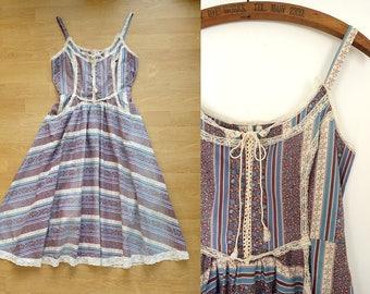 Gunne Sax Dress Jessica McClintock Boho Dress / Prairie Dress / Vintage 70s Boho cotton and lace dress