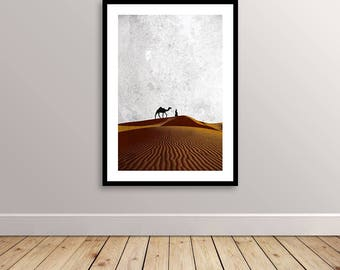 African Abstract Art - Desert Traveller - Sand Dunes - Camel Orange Shades Poster - Print Ready - Instant Download - Printable Poster