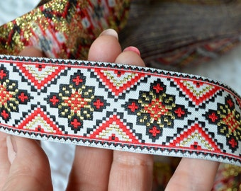 """Ethnic ribbon trim Ukrainian design White gold red embroidery jacquard trim by the yard Woven border Folkloric ornament Width 1.2"""" (3cm)"""