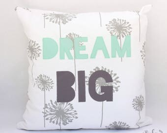 DREAM BIG, PILLOW, cover, pillow cover, nursery decor, kids room, baby gift, baby shower gift, gray, aqua, dandelion, whimsical decor