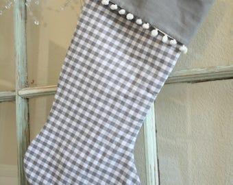 Gray Check Stocking--Pom pom #6