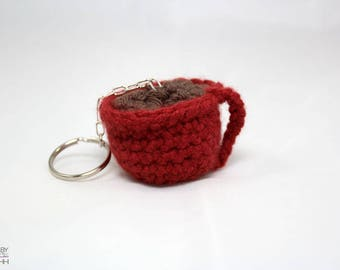 Crochet coffee cup keychain