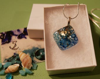 SECONDS Blue Turquoise Bubbles Fused Glass Jewellry Square Pendant Unique jewellery,coast,river,glitter,sea,water,cobalt,gift for her gift