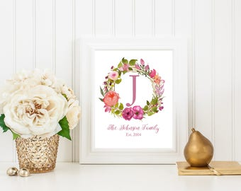 Monogram Printable, Personalized Monogram Print, Floral Wreath Print, Family Name Print, Last Name, Digital Download, Personalized Gift, Art