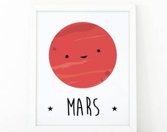 Mars print, planet print, Cute planet poster, nursery print, space theme, Educational poster for kids, Planet nursery print , outer space