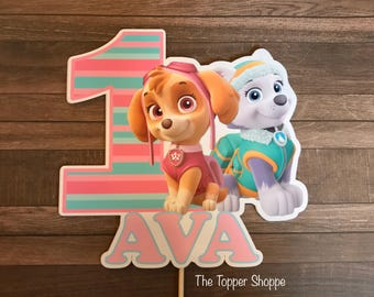 PAW PATROL Skye and Everest Customized Cake Topper / Centerpiece / Birthday Party Supplies / Decorations