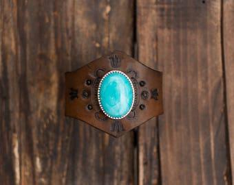 Bohemian Turquoise Bracelet, Bohemian Leather Cuff, Turquoise Leather Cuff, Leather Bracelet, Boho Cuff, Native American Handmade
