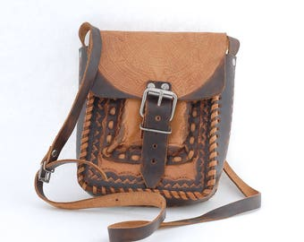 mexican leather satchel | festival purse pouch | aztec shoulder strap bag | leather crossbody bag | small mini messenger bag