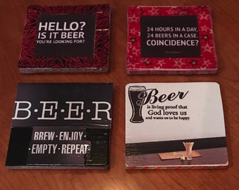 Set of 4 Decorative/Sayings Beer Bar Coasters
