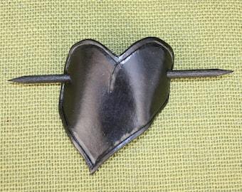 Beautiful Hand Tooled Black Leather Heart Barrette/Hair Clip/Hair Slide.
