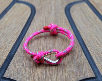 Handmade Customized Nautical Sailing Bracelet 925 Silver bright pink green color | Personalized Men present | Adjustable size, Unisex