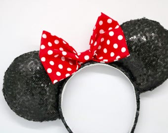 Minnie Mouse ears, Mouse ears, disney ears, classic mouse ears, classic minnie ears, glitter mouse ears, polka dot mouse ears, red mouse ear