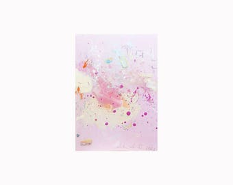 Beauty is in Breathing: 5x7 Framed Original Abstract Painting, Acrylic on Paper, Abstract Expressionist Art, Home Decor, Small Painting