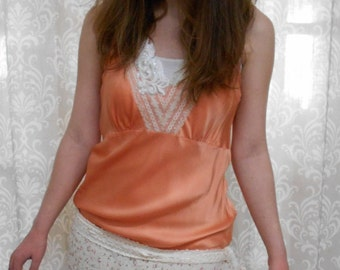 Orange Unique Dress, Feminine Boho Dress, Orange Ruffled Dress, Upcycled Dress, Eco Dress