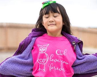 Owl love you forever shirt, kids love shirt, kids owl shirt, owl shirt, child love shirt, kids heart shirt, I love you shirt, love forever