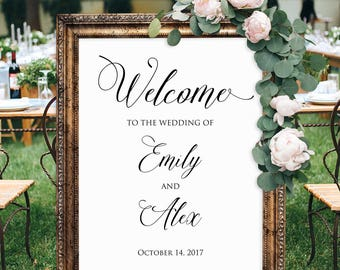 Welcome Wedding Sign, Wedding Poster, Welcome Wedding Printable,  #A040, INSTANT DOWNLOAD with EDITABLE text - you personalize at home