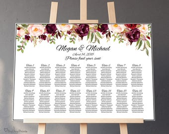 Wedding Seating Chart Template, Boho Chic Floral Wedding Table Plan,  Seating Plan, Landscape, #A023, INSTANT DOWNLOAD, Editable PDF