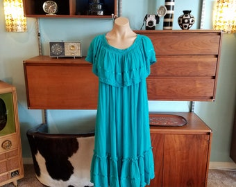 70s Vintage Ropa of California Turquoise Teal Blue Dress One Size Fits All Boho Hippie Cotton Gauze Off the Shoulder. Mumu.