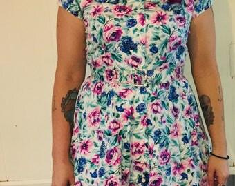Vintage Floral Print tea length dress