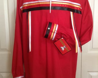 Native American Regalia *Nakoda Made* Traditional BRIGHT RED Pow Wow Ribbon Shirt© Size 2X