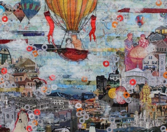 "Hot Air Balloons 8x10"" Collage Art Print - Unique Interesting Colorful Art - Landscape with Hot Air Balloons - Great Kids Room Art Print"