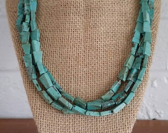 Turquoise Necklace, Turquoise Jewelry, Multi-Strand Necklace, Triple-Strand Necklace, Blue Necklace, Wood Necklace, Turquoise Earrings, Set