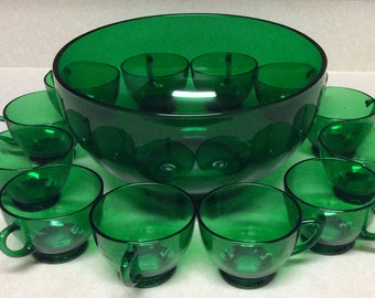 Vintage Anchor Hocking Forest Green Glass Punch Set Of 13 Pieces - Bowl  -Cups