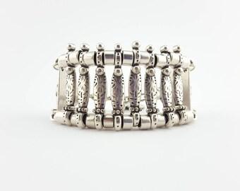 silver bracelet. ottoman bracelet. silver plated. silver beaded bracelet. woman bracelet. boho bracelet. boho coin bracelet. Ooak bracelet.