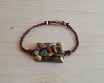 Beach pebble magnetic bracelet