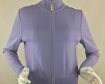 Vintage St. John Lavendar Zip-Up Cardigan Sweater/Size  Small