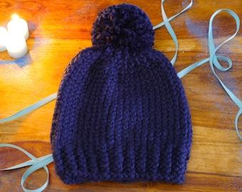 Hand Knitted Blue Chunky Pompom Beanie
