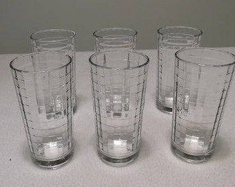 Set of Six Vintage Crystal Juice Glasses, With Windowpane Design