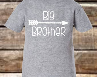 Big Brother Shirt Boys - Heather Grey with White Letters Arrow Shirt