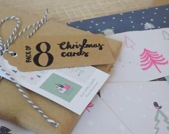 Set of 8 Winter Wonderland Christmas Cards