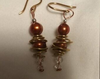 Fresh Water Chocolate Pearls and Swarovski Crystal dangle earrings