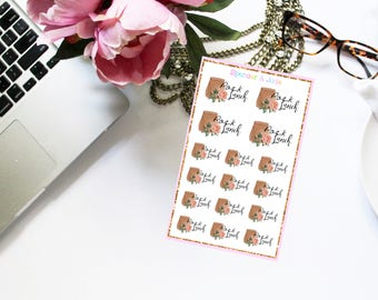 PACK LUNCH - Floral Shabby Chic Pack Lunch Paper Bag Reminder Planner Stickers with Pink Roses - Watercolor Planner Stickers