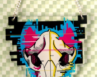Glitched Wolf Skull Acrylic Necklace, Vaporwave Computer Technology Inspired Animal Jewelry, Glitch Art, Unique Gifts, Artist Designed