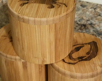 Bamboo Storage - Salt or Spice Box - Chesapeake Bay Inspired - Blue Crab, Blue Heron, Oyster - Kitchen or Bath - Single Canister