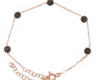 925 sterling silver bracelet with black sparkling beaded