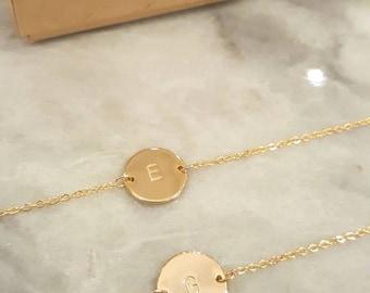 Friendship Bracelet, BFF Bracelet, Personalized (or blank) Disk Bracelet, Monogram Jewelry, Name Bracelet, Initial Disk bracelet